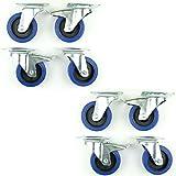 2 Satz 100mm Blue Wheels Lenkrollen mit / ohne Bremse Lenk/FS 180kg/Rad - INDUSTIREQALITÄT