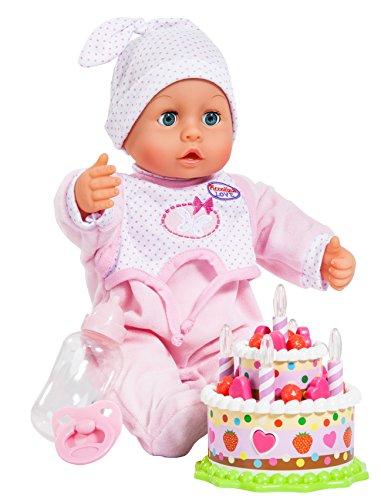 Bayer Diseño - 93885 - Poupon - Piccolina Con 24 hijos con la torta de cumpleaños con la Luz - rosa - 38 Cm