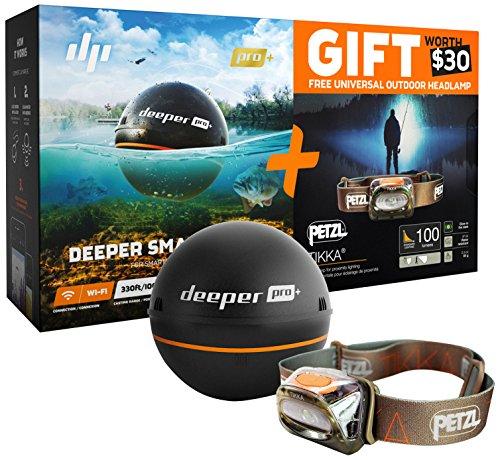 Deeper ITGAM0432 PRO+ Smart Echolot mit PETZL Kopflampe schwarz