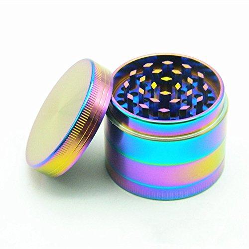 unilike Colorful 63 mm/ 2.48 Inches di 4 pezzi in lega di metallo Tabacco Erbe Spice macina caffè manuale arcobaleno con una pulizia Paletta, Multi, 63 mm