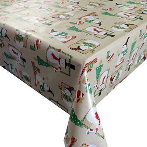 d-c-fix Wachstuch Wachstischdecke Tischdecke Gartentischdecke Schneemann Beige Weihnachten Breite & Länge wählbar 80 x 80 cm Eckig abwaschbar Lebensmittelecht