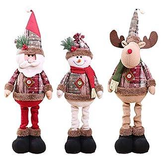 De pie Santa Decoración navideña, Navidad Sentado Papá Noel Muñeco de Nieve Reno Adorno navideño Patas largas Mesa Chimenea Decoración Decoración del hogar Figuras de Navidad Felpa
