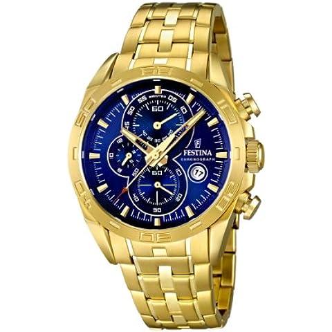 Festina F16656/3 - Reloj analógico de cuarzo para hombre, correa de acero inoxidable chapado color dorado