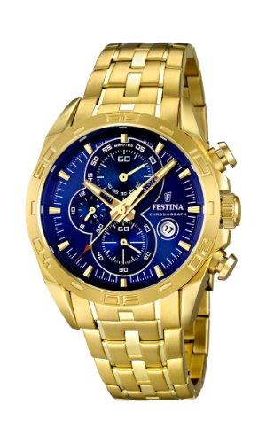 Festina F16656/3 – Reloj analógico de cuarzo para hombre, correa de acero inoxidable chapado color dorado (cronómetro)
