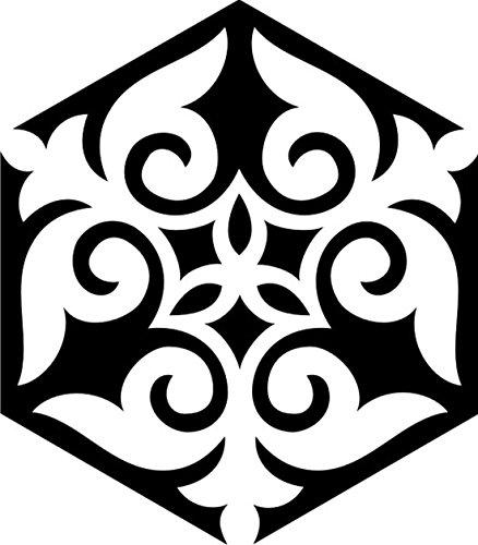 T-Shirt E1133 Schönes T-Shirt mit farbigem Brustaufdruck - Logo / Grafik / Design - abstraktes Ornament mit schönen Ranken und Blättern Weiß