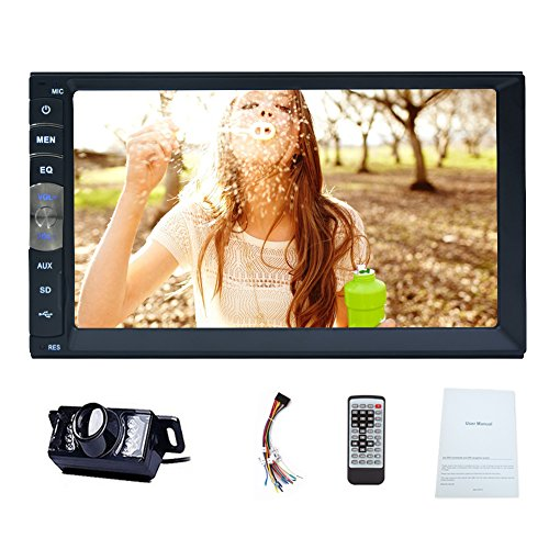 EinCar Bluetooth Car stereo System with Front USB/TF FM Aux Input 7 inch Capacitive Touchscreen Mirror Link for Android GPS Phones Universal 2 Din HD Bluetooth USB/TF FM Aux Input Car Radio NO-DVD Player MP5