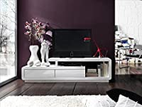 Full White High Gloss ModaNuvo TV Unit Cabinet Stand Lowboard With 2 Drawers