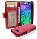 Cadorabo Hülle für Samsung Galaxy Alpha - Hülle in Inferno ROT – Handyhülle mit 3 Kartenfächern - Case Cover Schutzhülle Etui Tasche Book Klapp Style