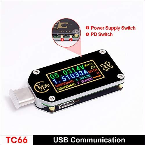 Hylotele HD Tipo-C Pantalla en color Disparo de PD Voltaje USB Amperímetro Amperímetro Medidor de 2 vías Medidor de corriente Medidor Multímetro Probador de USB