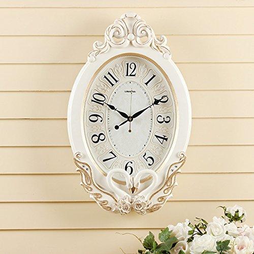 OLILEIO Swan Retro Watch Jardin Salon européen de l'art muet Horloge Murale Horloge Quartz,20 Pouces (50,5 cm de diamètre),Retro Blanc