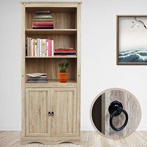 MIADOMODO Bücherregal mit Türen und 4 Boden | Bibliothek Standregal im Vintage-Stil | DVD Regal, Holzregal, Büroregal, Dekoregal, Landhausdesign -