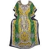 Women's Kimono Kaftan Dresses Green Caftan Cover up Beach Maxi Dress Onesize