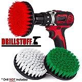 Drillstuff 3 Stück Soft, Medium und steif Leistungsschrubber Bohraufsatz für die Reinigung Duschen, Wannen, Bäder, Fliesen, Mörtel, Teppich, Reifen, Boote grün, rot, weiß