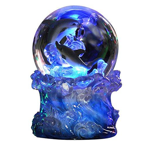Romantisch, kreativ, minimalistisch, Glas Kugel LED Schreibtischlampe, Kristallkugel LED Nachtlicht mit Glaskugel entworfener Lampenkörper und Delphine in ihm, Bluetooth Musikspieler für Bett, Gesche