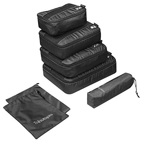 Organizador para Maleta, Trèsutopia Mobutler 6-en-1 Impermeable Bolsas de Viaje (Negro)