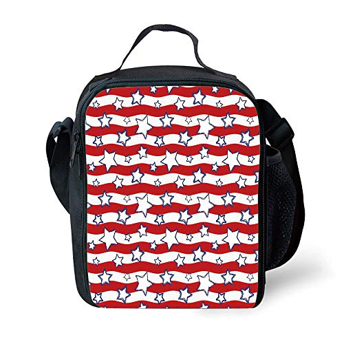 MLNHY School Supplies USA,Horizontal Wavy Bands Background with Stars Homeland The Old Country Image Decorative,Red Navy Blue White for Girls or Boys Washable