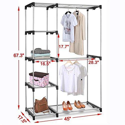 25 99 yahee stabiler kleiderstnder wschestnder auf rollen garderobenstnder cmit 4 ablagen silber. Black Bedroom Furniture Sets. Home Design Ideas