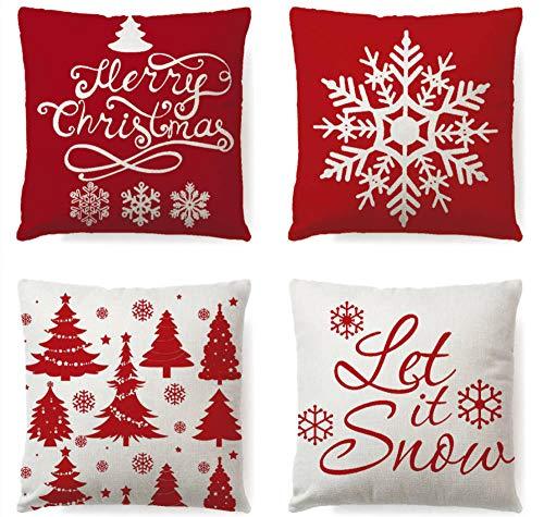 ZHAOCC Kissenbezug Set Von 4 Sofa Kissenbezug Frohe Weihnachten Schneeflocke Kissen Kissen Kissen Schlafzimmer Wohnzimmer Dekoration