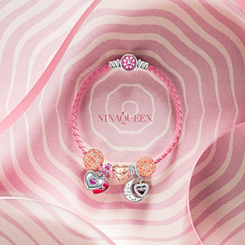 NinaQueen - Mom, I Love You Forever - Charm pour femme argent 925 Mom, I Love You Forever charm(XL)