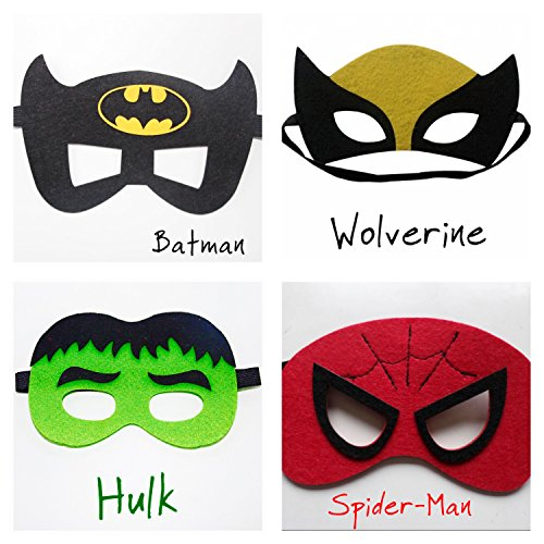 Super Hero Set Filz Maske 2 – Hulk, Batman, Spider-Man, Wolverine