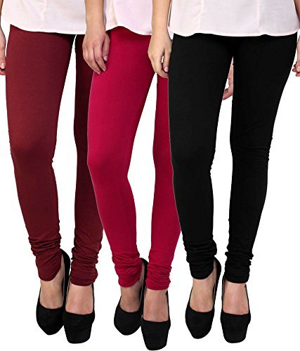 Ganesh Women\'s Cotton Stretched Leggings | Leegins For Women Combo | Free Size(Black, Red and Maroon) - Pack of 3