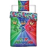 AYMAX S.P.R.L Pyjamasques Housse de Couette Réversible avec Taie d'Oreiller, Microfibre, Multicolore, 200 x 140 cm