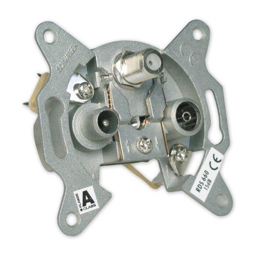 Schwaiger RDS660 011 Breitband Durchgangsdose (SAT-ZF Anschluss, 15 dB) -