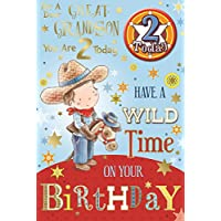 "Great Grandson 2nd Birthday Card & Badge - 2 Today Cowboy, Horse & Stars 9"" x 6"""
