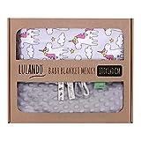 LULANDO Babydecke Kuscheldecke Krabbeldecke aus 100% Baumwolle (100x140 cm). Super weich und flauschig. Kuschelige Lieblingsdecke für Ihr Baby. Farbe: Grey - Grey Unicorn