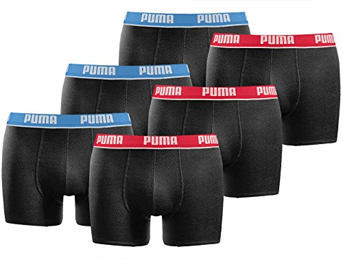 Puma Boxershorts (PUMA Herren Boxershort Basic Limited Black Edition 6er Pack - Blue-Black-Party - Gr. XL)