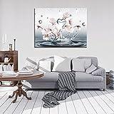 FORWALL Bilder Magnolie O1 (100cm. x 75cm.) Leinwandbilder Kunstdrucke Wandbild AMFPP10163O1 Natur Blume Blumen Magnolie Wasser Eleganz Weiss
