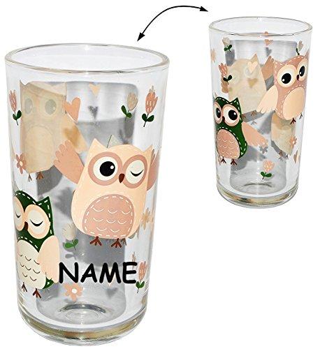 1 Stück: Trinkglas / Longtrinkglas - bunte Eulen - incl. Namen - Glas Becher als Limobecher / Trinkbecher / Longdrink - Saftglas - Eule - Saftgläser / Gläser - für Kinder & Erwachsene