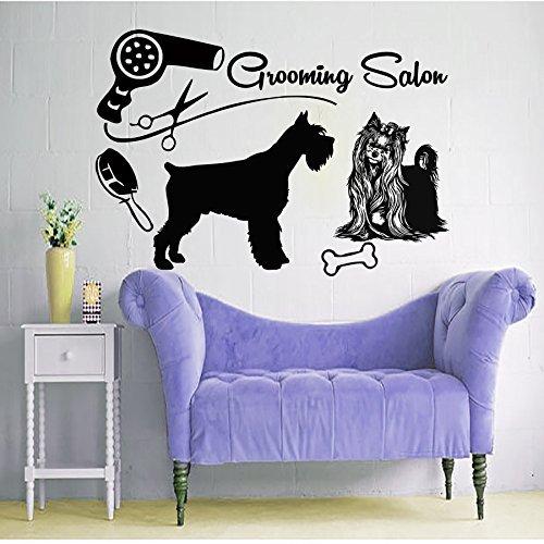 Hund Wandaufkleber Hundesalon Aufkleber Vinyl Aufkleber Pet Shop Schere Decor Design Fenster Studio Art Wandbild MN933 (Hundesalon)