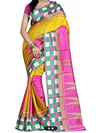 Clothsfab Sarees For Women Embroidered Half And Half Bhagalpuri Saree With Blouse Piece Material For Party Wear...