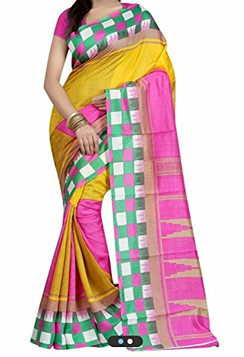 Clothsfab sarees for women embroidered half and half bhagalpuri saree with blouse piece material for party wear