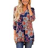 Zegeey Damen Blumenkleid Bohemian Strandtunika Sommerkleid Tunikakleid Bluse Long Sleeve für Mädchen Langen Ärmeln Drucken(Marine 2,S)