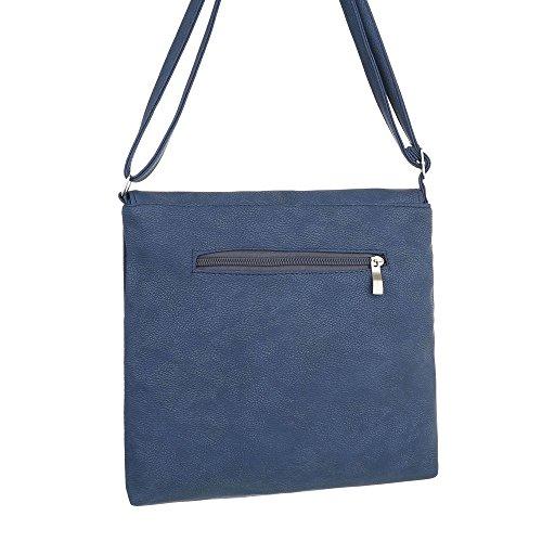 iTal-dEsiGn Damentasche Mittelgroße Schultertasche Umhängetasche Kunstleder TA-290317 Blau