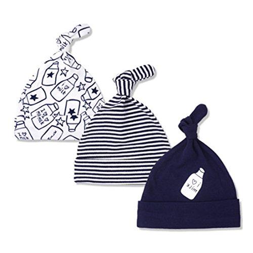 CuteOn 3 Pack Baby Beanie Knoten Hut Neugeboren Jungen Mädchen Baumwolle Einstellbar Kappe zum Baby 0-6 Monate 06-Feeding Bottle