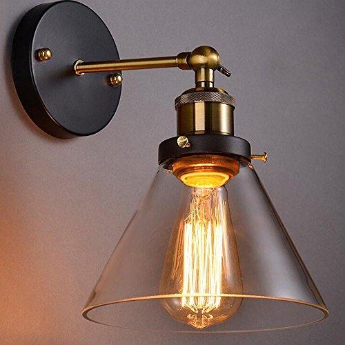MMYNL Vintage Industrial Trichter Glas Lampenschirm Wand Korridor Licht Messing für Schlafzimmer wohnzimmer BAR Flur Badezimmer Küche Innen Lampen (Gusseisen Trichter)