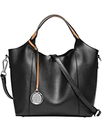 Pingora Womens Genuine Leather Handbag Tote Shoulder Bag Purse Hot(Black-1)