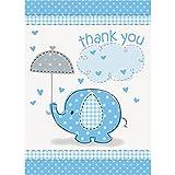 Unique Party Supplies Dankeskarte für Babyparty mit blauem Elefant, 8Stück