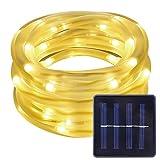 LE LED Solar Lichterkette Solarlichterkette, 5 Meter, Wasserdicht, 50 LEDs, 1,2V, Warmweiß, tragbar, mit Lichtsensor, Gesamtlänge 7 Meter (2m Anschlusskabel)