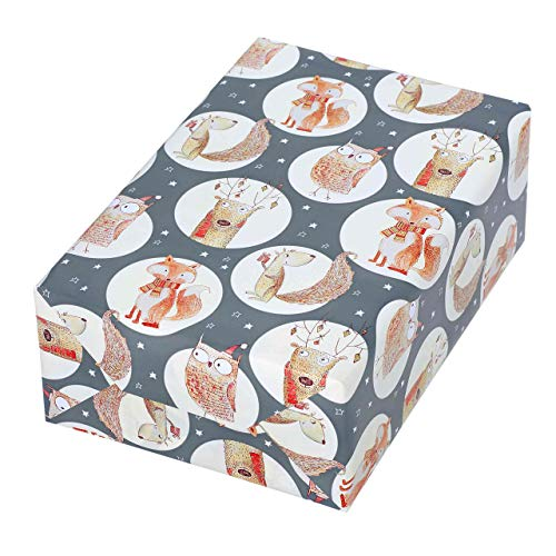 Geschenkpapier Rolle 50 cm x 50 m, Motiv Sven, lustige Waldtiere glänzen aus dem mattfarbenen grauen Fond heraus. Für Weihnachten, Geburtstag, Kinder. Weihnachtsgeschenkpapier