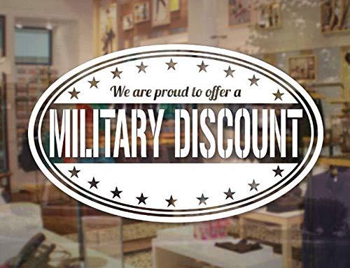 Hllhpc autoadesivo di vetro di sconto militare negozio di decalcomanie veterano segno di affari decalcomania per negozio negozio finestra adesivo adesivo murale 57x34cm