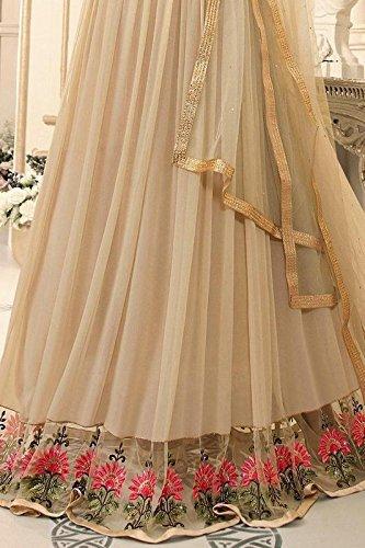 Wedding Designer Semi Stitched Salwar Suit(1612_Beige_Free Size)