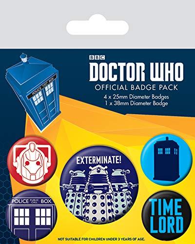 Pyramid International Doctor Who Exterminate Badge, Multicolore, 10 x 12.5 x 1.3 cm