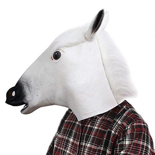 Fjiujin,Halloween Maskerade Parteien Kostüm Ball Latex Pferdekopfmaske(Color:Weiss) (Or An Bedeutung Trick Treat Von Halloween)