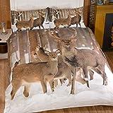Just Contempo–Juego de funda nórdica de ciervo, doble, marrón, matrimonio