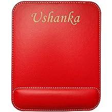 6ea5cd93e4d Almohadilla de cuero sintético de ratón personalizado con el texto  Ushanka  (nombre de pila