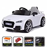 Voiture de sport électrique 12V pour enfant Audi TT RS Cristom -Télécommande 2.4Ghz- Slot USB et prise MP3 - Licence Audi (Blanc)